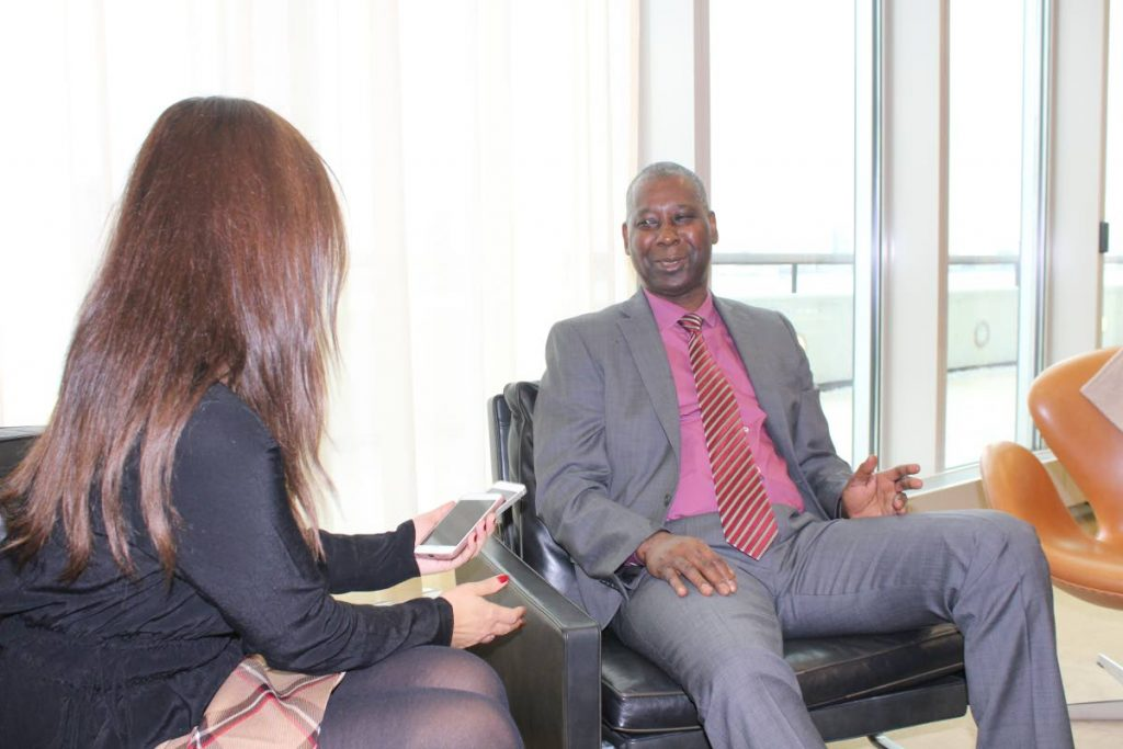 President of the 74th UN General Assembly, Tijjani Muhammed-Bande, speaks to Engy Magdy of Egypt, one of four 2019 Dag Hammarskjold Fund for Journalism fellows, during an interview in his office at the UN headquarters in New York.  - Carla Bridglal