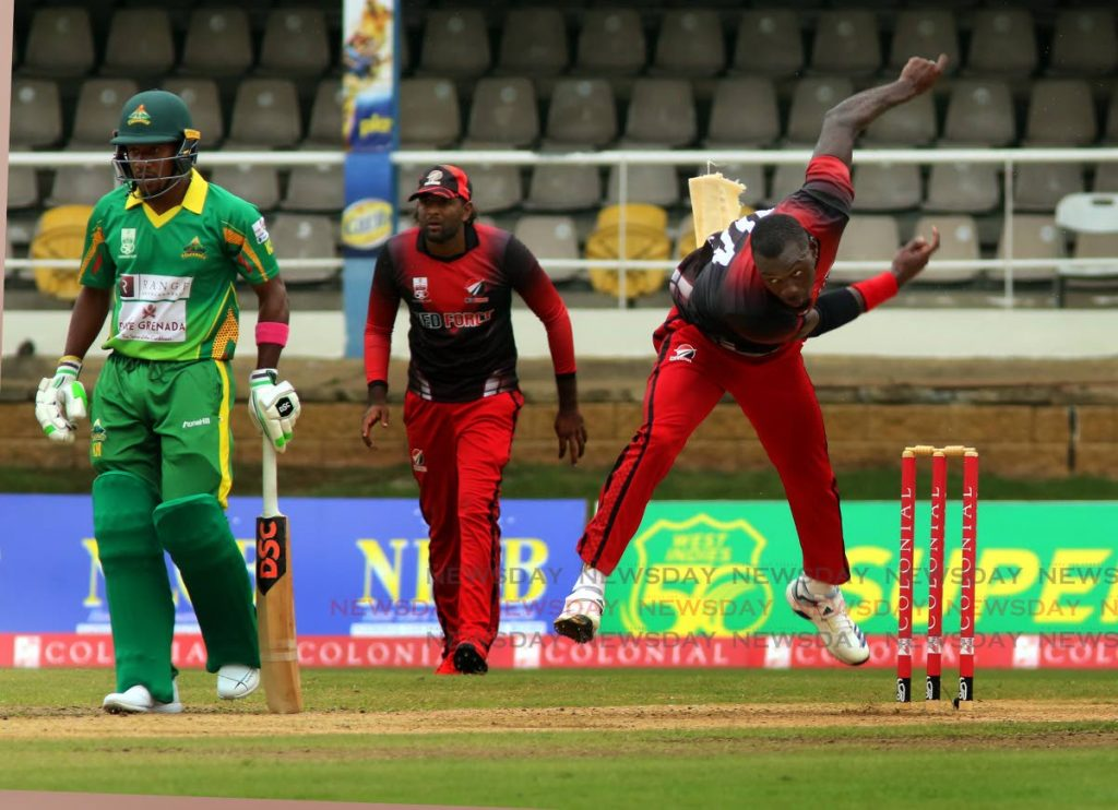 TT Red Force's Anderson Phillip bowls during the Regional Super50 match agsinst the Windward Islands Volcanoes,at the Queen's Park Oval  - Sureash Cholai