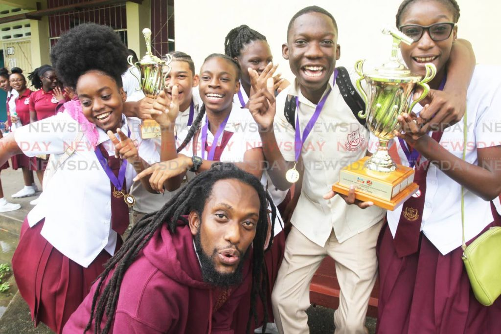 Port of Spain south east secondary school are the winners of the Raise The Bar Secondary School Spoken Word hosted by The 2 Cents Movement. The competition was held at the San Fernando central secondary school.  Photo: Lincoln Holder - Lincoln Holder