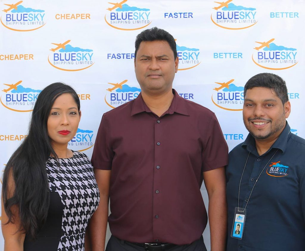 Committee member Billy Furlonge (centre) at the official unveiling of Blue Sky Shipping as a sponsor for the Super Series Invitational T20 tournament with their Managing Director Brent Russell (right) and Business Development Manager Jade Saney at the company's office in Chaguanas. -