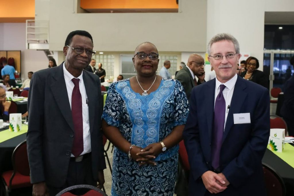 Professor of Practice at The UWI St Augustine Campus Andrew Jupiter, Minister of Planning and Development Camille Robinson-Regis and Tim Dixon, general manager of the IEA Greenhouse Gas R&D Programme at the International Knowledge-Sharing Symposium. -