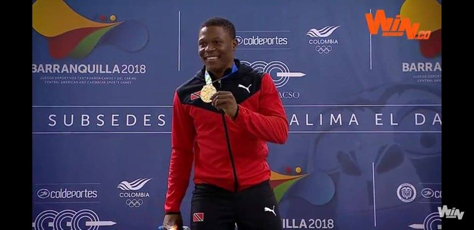 TT's Nicholas Paul shows off his Men's Sprint gold medal at the Pan American Track Cycling Championships in September.   -