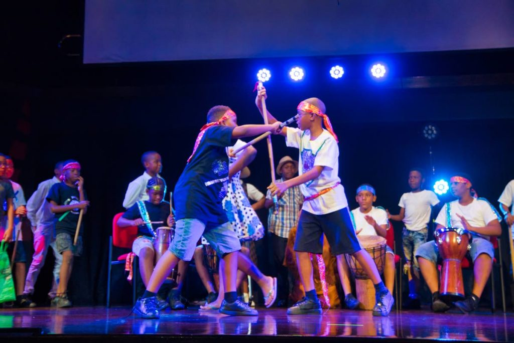Stickfighting scene from George The Ferryman and Fluffy, presented by St Margaret's Boys at Page to Stage 2018. -