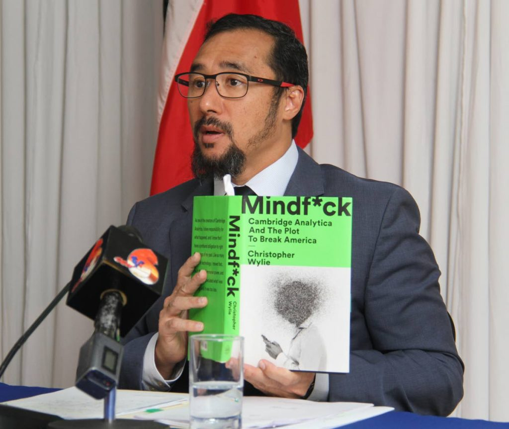 MIND BLOWN: Minister of National Security Stuart Young speaks on allegations made against the former PP in the book Mindf--k: Cambridge Analytica and the Plot to Break America by Christopher Wylie at a press conference at the National Security Ministry in Port of Spain, yesterday. - Ayanna Kinsale