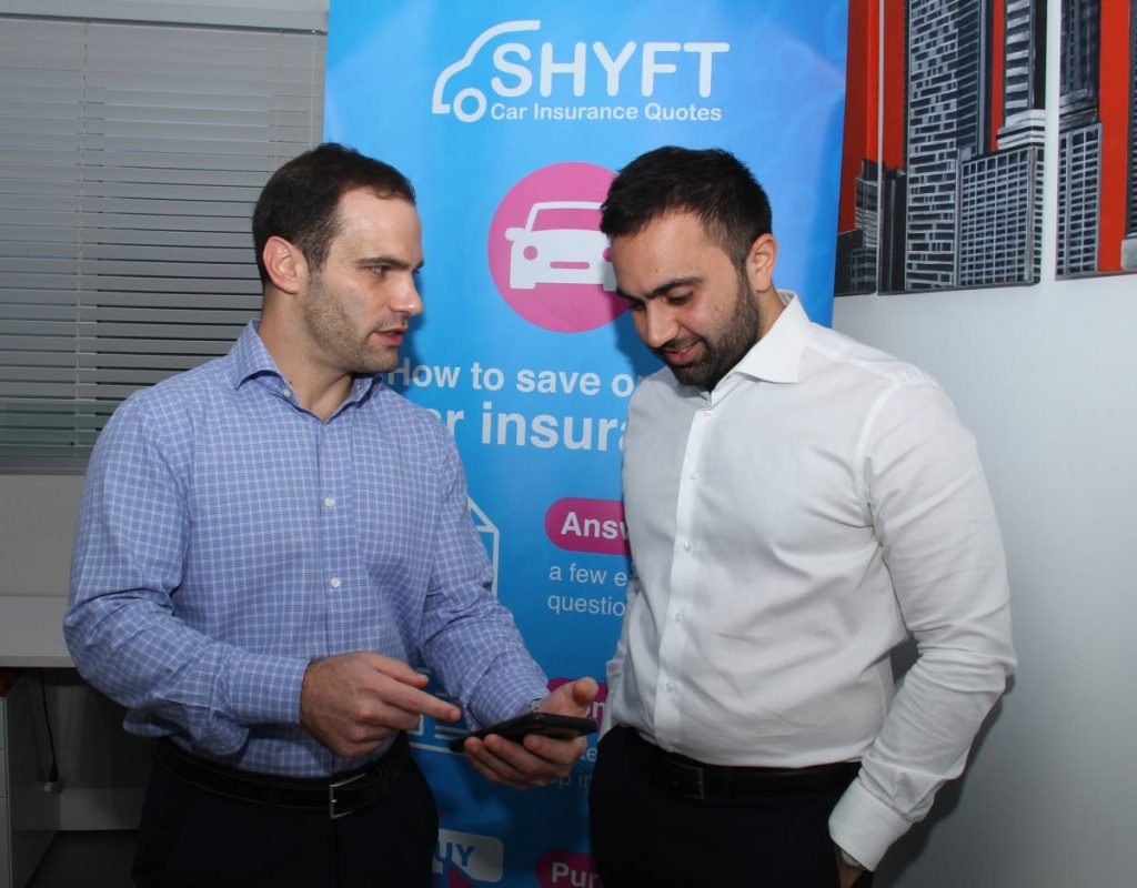 Matthew Moses and Andrew Laquis discuss how clients can check car insurance online quote on their phones using Shyft.tt. - Ayanna Kinsale