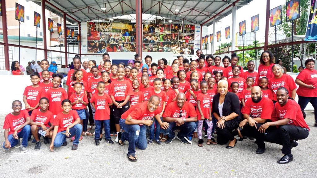 "HADCO Phase II Pan Groove Junior Steel Orchestra with principals Akua Leith from front right, Andrew Charles, Desiree Myers, Len""Boogsie"" Sharpe and Terry Bernard. -"