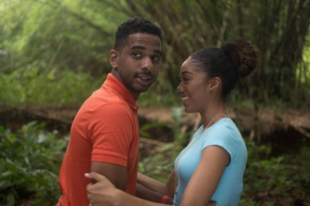 Renaldo Frederick with actress Jiselle Huggins in a sceen from the Fixerfilm Ltd local movie, The Hike (2019). PHOTO BY DOMINIC KOO -