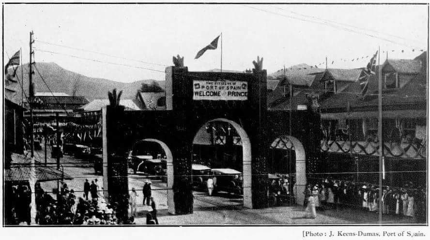 Arch at Broadway and Marine Square (now Independence Square) in downtown Port of Spain, decorated for the visit of Edward Prince of Wales in 1920.  Vintage photo by J Keens-Dumas. -