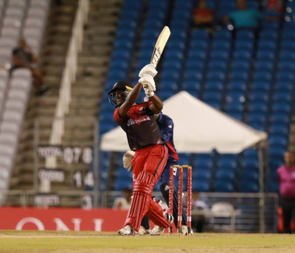 TT Red Force batsman Jason Mohammed hits a shot during the Colonial Super 50 match against the USA at the Brian Lara Cricket Academy,Tarouba,on Friday.  - Nicholas Bhajan/CA-images
