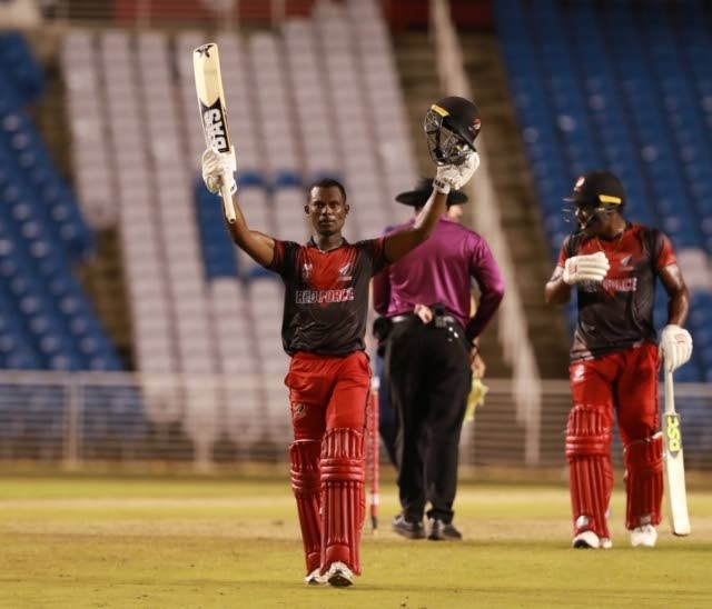 TT Red Force batsman Jason Mohammed celebrates his century during the Colonial Super 50 match against the USA at the Brian Lara Cricket Academy,Tarouba,on Friday. - Nicholas Bhajan/CA-images