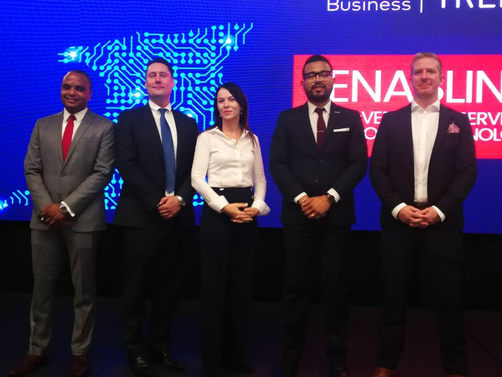 Addressing the seminar at Hyatt are Shakka Subero, head of government, Digicel Business, from left, Liam Donnelly, general manager, Digicel Business Eileen Ruddy, COO, Trend Media, Sean Phillip, sales manager, Trend Media and Brian Cane, Digicel Group, head of IOT. - Joan Rampersad