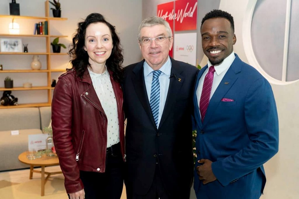 Three-time Olympic hurdler, Mikel Thomas, right, with IOC president, Thomas Bach, centre, and Great Britain representative Stefanie Reid at the Olympic Capital in Lausanne, Switzerland.  -