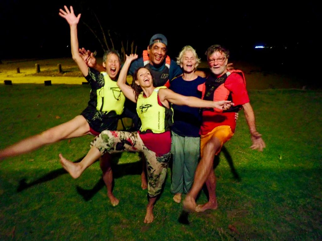 Tourists in high spirits after their paddle around the Bon Accord lagoon.  -