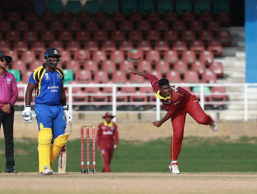 West Indies Emerging Players' left-arm spinner Ashmead Nedd (right) in his delivery stride during Thursday's match against the Barbados Pride at the Queen's Park Oval, St Clair. PHOTO COURTESY CRICKET WEST INDIES. -