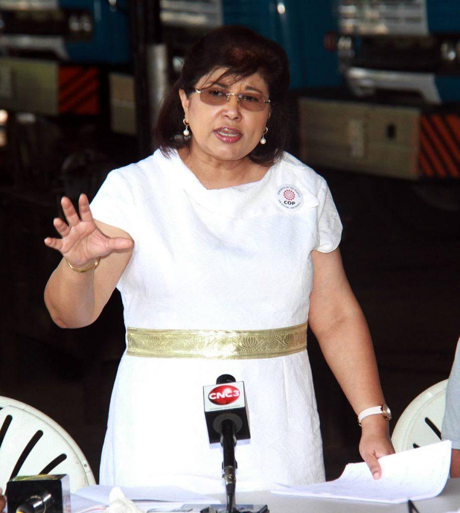 COP leader Carolyn Seepersad-Bachan  - Anil Rampersad