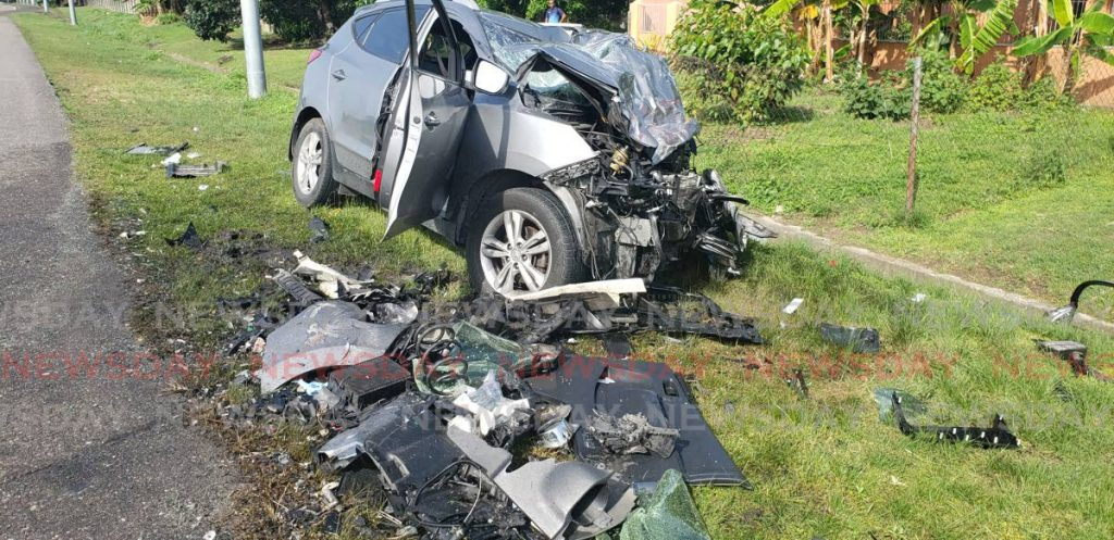The mangled remains of Cpl Frank Isaac's  Hyundai Tucson following an accident on the Priority Bus Rout near Olton Road. - Rachael Espinet