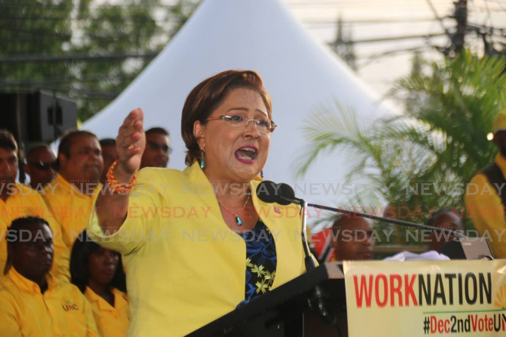 Opposition Leader Kamla Persad-Bissessar during a meeting in Couva recently. - Marvin Hamilton