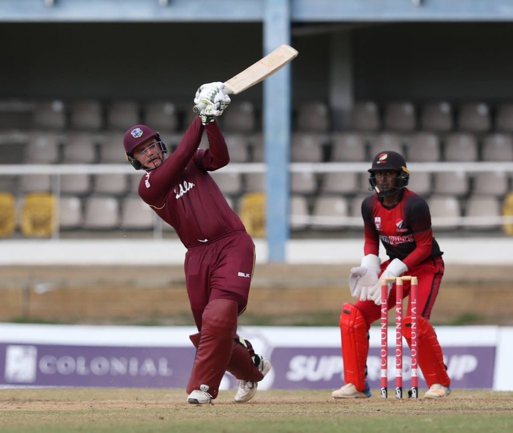 Joshua Da Silva in action against the TT Red Force during a recent match in the Colonial Medical Insurance Super50 Cup. -