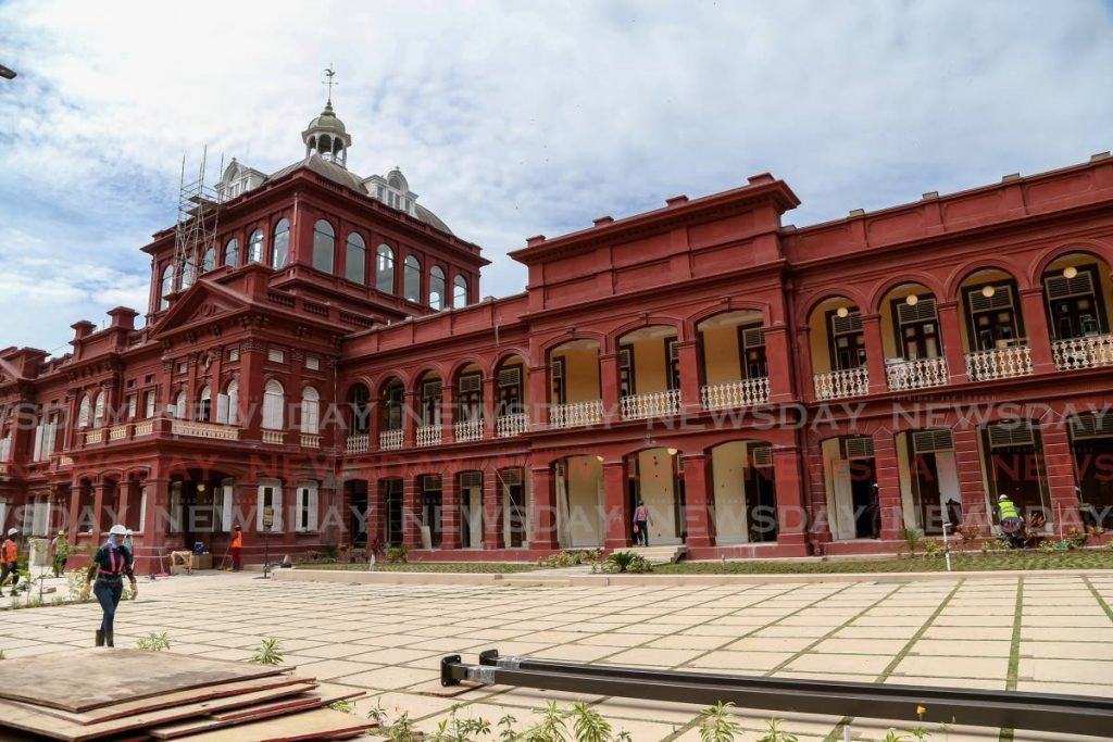 Restoration works continue at the Red House on Abercromby Street, Port of Spain on November 2019. - Jeff Mayers
