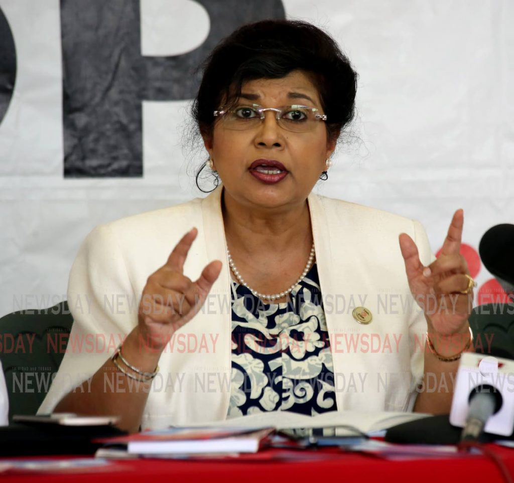 Congress of the People leader Carolyn Seepersad-Bachan raised concerns about the sources of finances for major political parties during the local government election campaign. - SUREASH CHOLAI