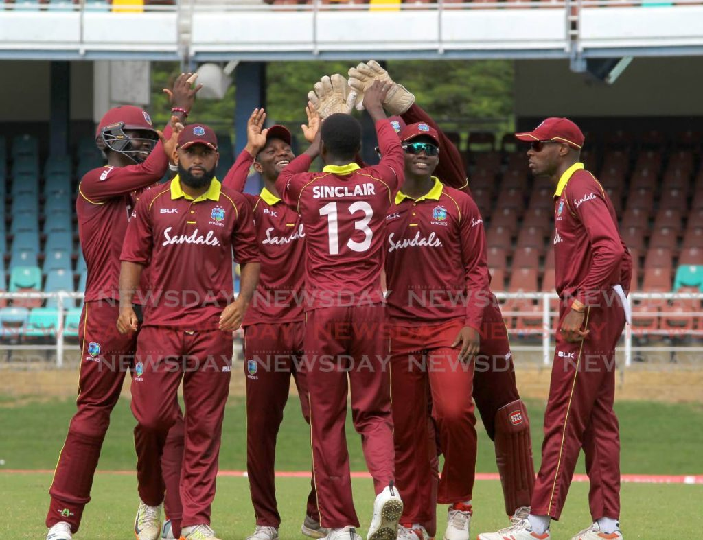 In this Nov 28 file photo, West Indies Emerging Players celebrate a wicket against the Barbados Pride, during their semi-final match of the Colonial Medical Insurance Super 50 Cup, at the Queen's Park Oval, St Clair. - ROGER JACOB