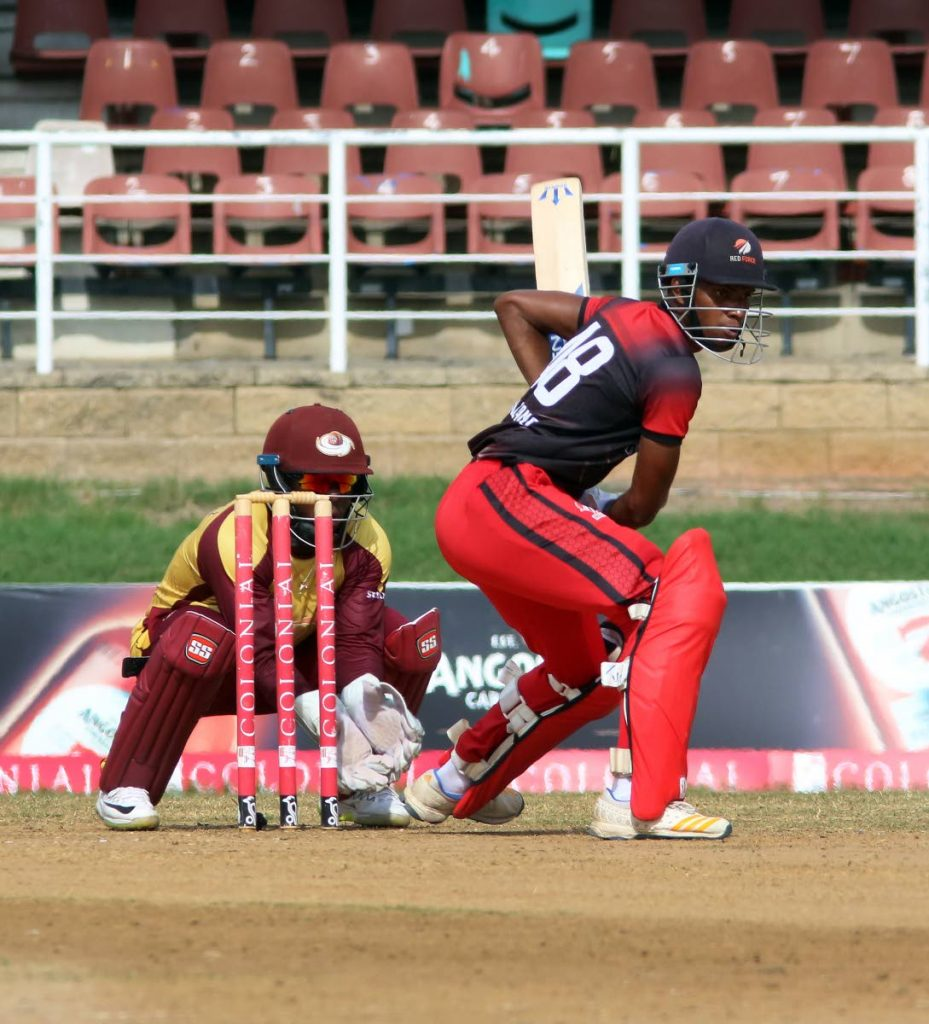 TT Red Force batsman Jeremy Solozano looks to play a shot against the Leeward Islands Hurricanes, in the super50 semi-final, at Queen's Park Oval, St Clair,on Friday. Hurricanes won by four wickets. - SUREASH CHOLAI