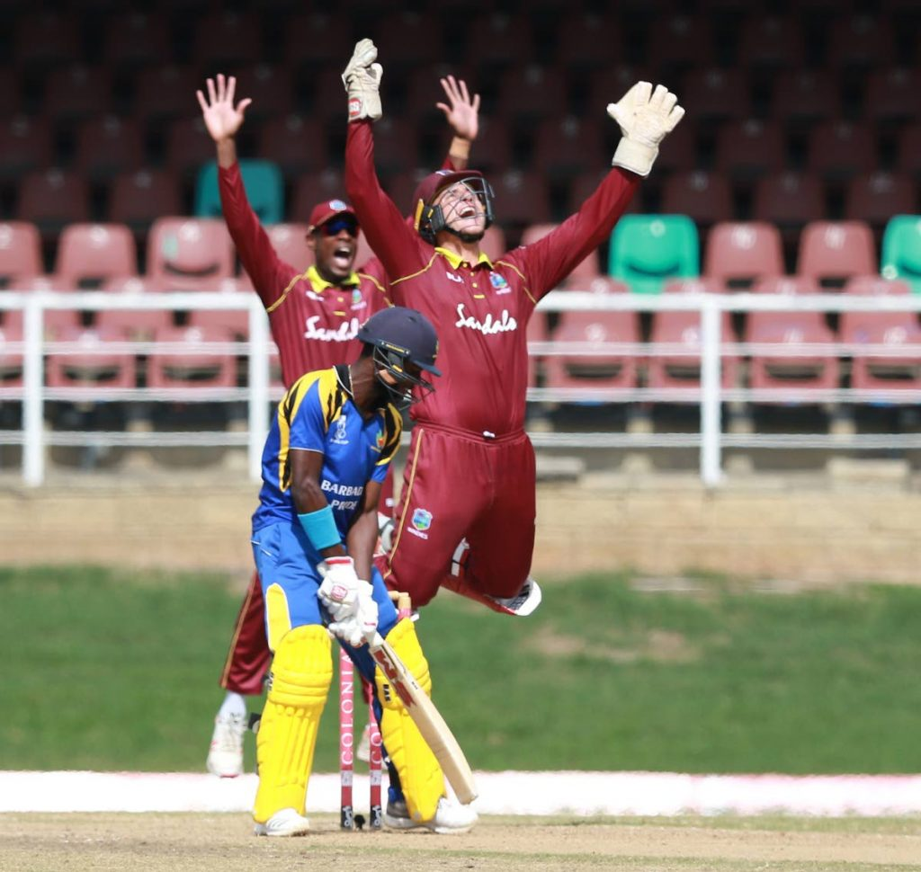 West Indies Emerging Players  wicket keeper Joshua Da Silva celebrates a wicket during the Colonial Medical Super 50 match against the Barbados Pride at the Queens Park Oval, St Clair, on Thursday. - Nicholas Bhajan/CA-images