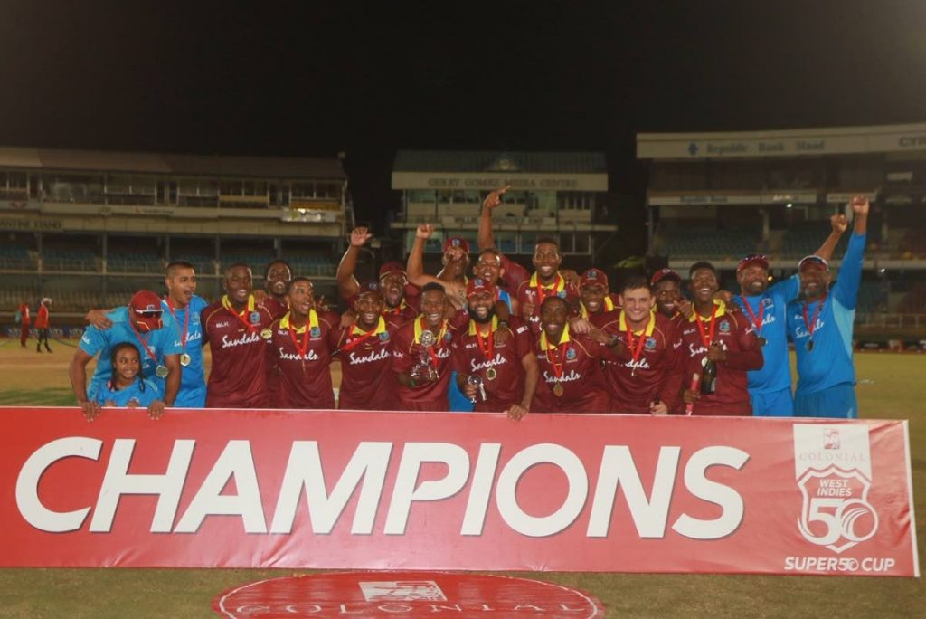 West Indies Emerging Players celebrate winning the Colonial Medical Insurance Super 50 tournament,on Sunday, at the Queen's Park Oval, St Clair.  - CA-IMAGES/CWI