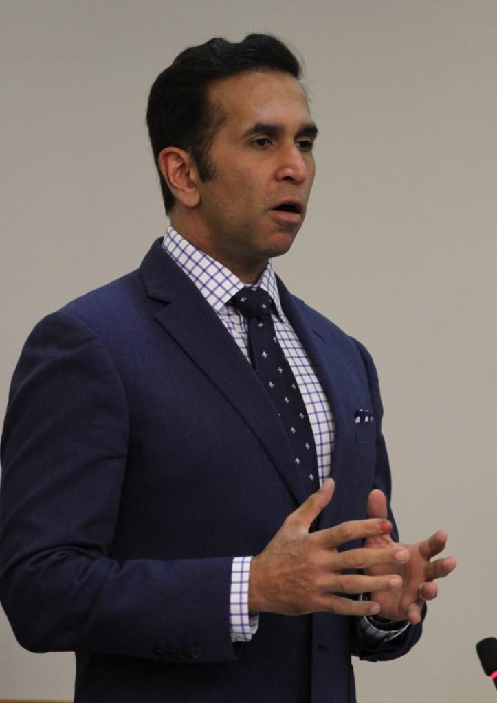 Attorney General Faris Al-Rawi makes his contribution during Senate which was held at Tower D, International Waterfront Centre, Port-of-Spain on Wednesday. PHOTO BY AYANNA KINSALE - Ayanna Kinsale