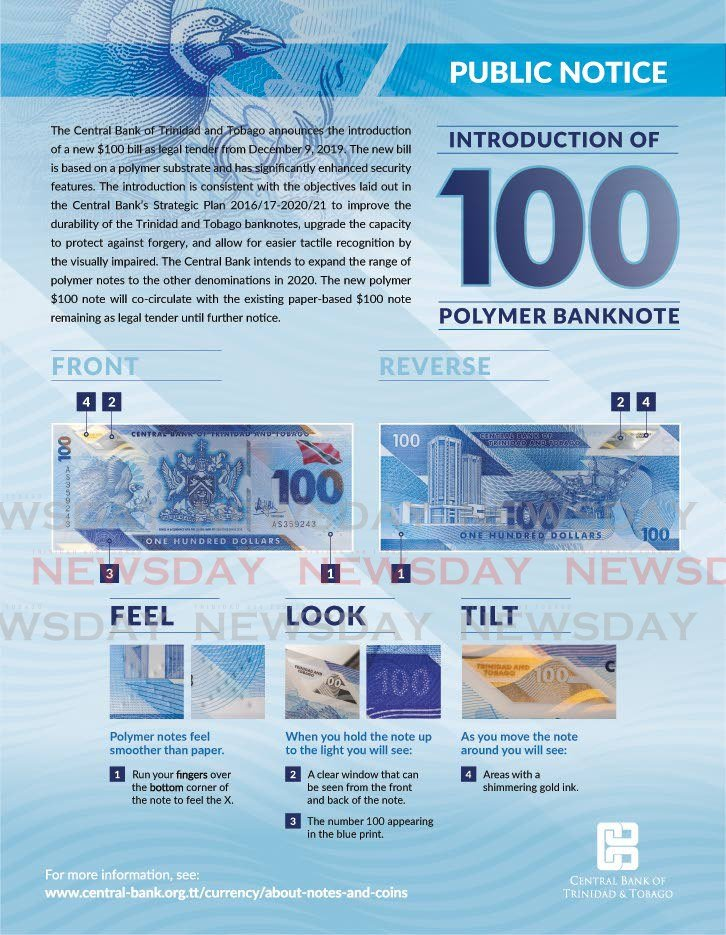 Central Bank info-graphic on the new $100 polymer bill. -