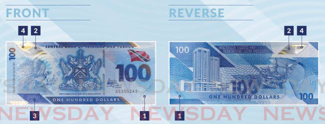 The Central Bank's website yesterday showed images of how the new polymer-based $100 notes will look.  -