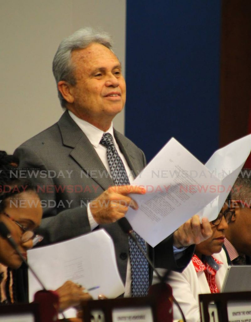 Finance Minister Colm Imbert explains the measures to change the current $100 bill to a polymer note in a special sitting of the Senate to debate he Miscellaneous Provisions (Proceeds of Crime and Central Bank) Bill 2019 on Saturday. - ROGER JACOB
