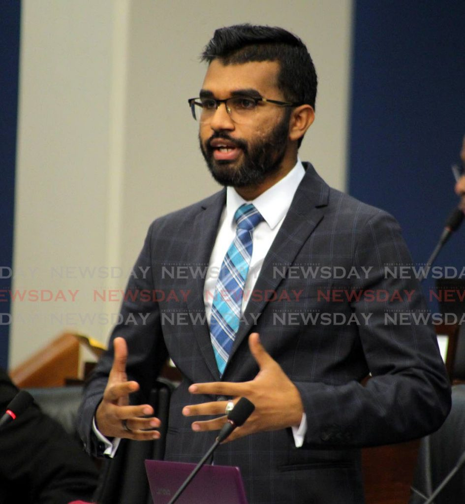 Opposition Senator Saddam Hosein raises concerns about the independence of the Central Bank during debate on the  Miscellaneous Provisions (Proceeds of Crime and Central Bank) Bill 2019 on Saturday. - ROGER JACOB