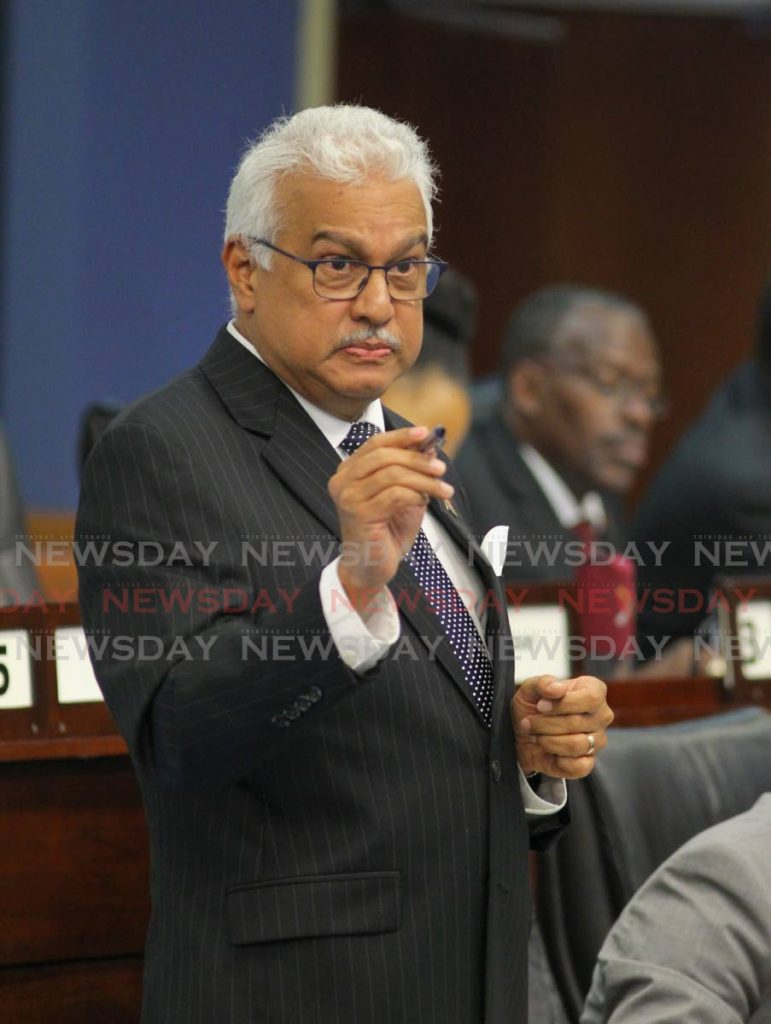 Health Minister Terrence Deyalsingh in a recent sitting of Parliament. The minister said Government stands firm on not introducing PrEP drugs at public health institutions. - ROGER JACOB