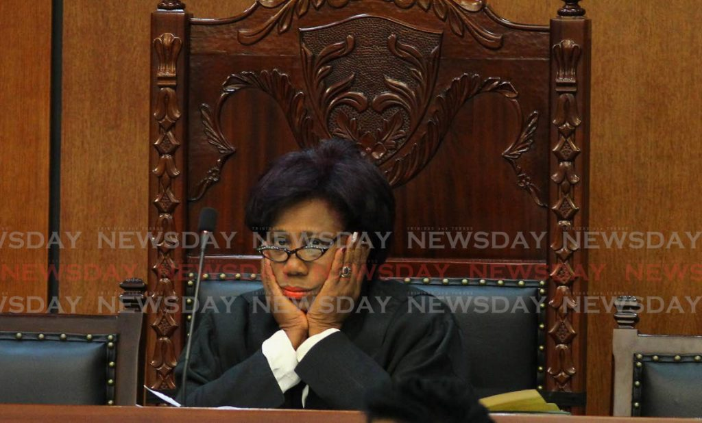 Speakerof the House Brigid Annisette-George appears frustrated after ordering Caroni East MP Dr Tim Gopeesingh to leave the Parliament's chamber on Wednesday. - ROGER JACOB