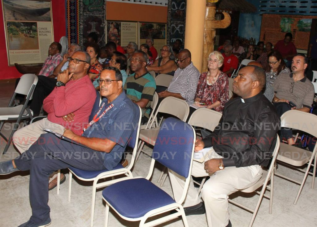 Guests listen to author Maximilian Forte at the launch of his new book, Arima Born, at the Santa Rosa First Peoples Community Centre in Arima on Tuesday. PHOTO BY ANGELO M. MARCELLE - ANGELO_MARCELLE