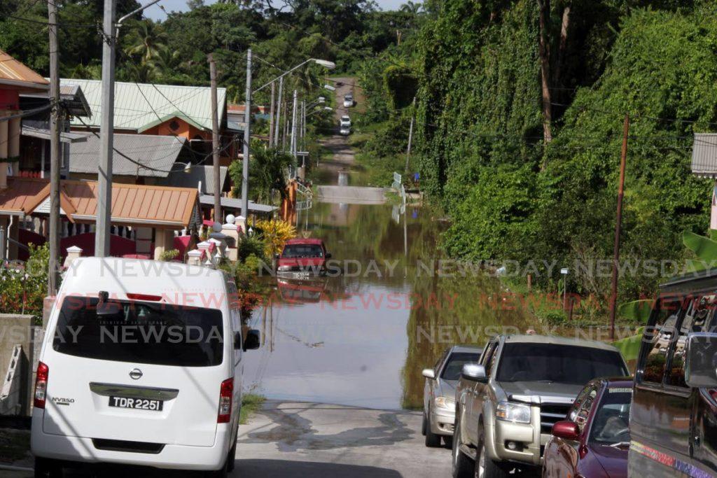Flood waters is seen off Chrysostom Trace, located at Mafeking Village off the Naparima Mayaro Road. - Vashti Singh