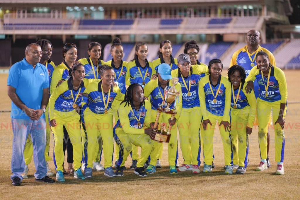 Novel Sports Southern Titans celebrate being crowned Courts Grandslam T20 tournament winners in the final against the LCB Central Sharks, at the Brian Lara Cricket Academy, Tarouba, on Friday night. Titans won by 8 wickets.  - Daniel Prentice/CA-images