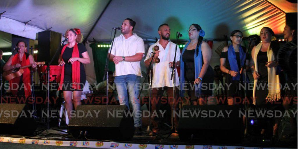 La banda de Parang Herencia Venezolana compuesta por inmigrantes venezolanos actuó en Regresa a Mi de NPATT, en el Velódromo de Arima el sábado por la noche. - Angelo Marcelle