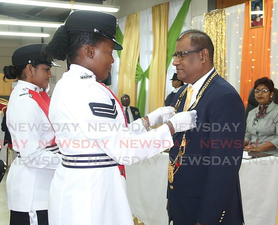 Gowrie Roopnarine re-elected as chairman of the Princes regional corporation during a ceremony at the corporation building Princes Town  - Marvin Hamilton
