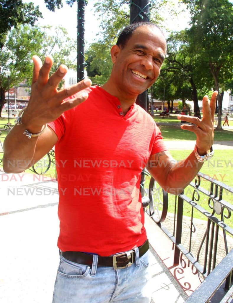 Leon Coldero is all pumped up for Carnival even as he enjoys the Carnival season with his hist Scrap Iron. - ROGER JACOB
