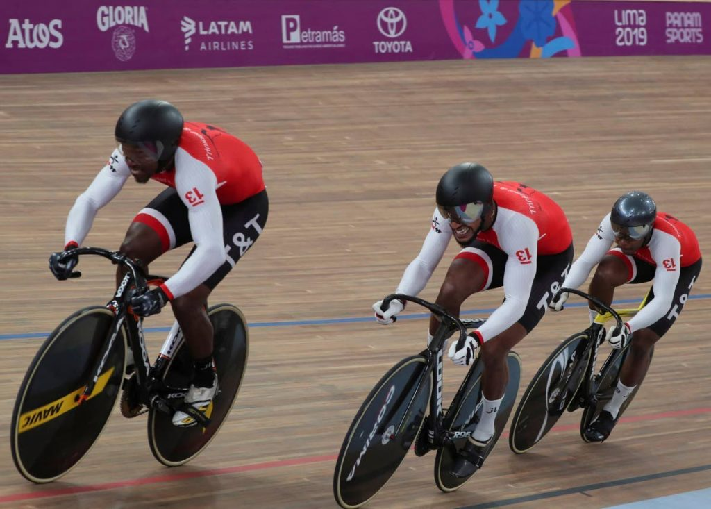 TT's Keron Bramble, left, Njisane Phillip, centre, and Nicholas Paul in the team sprint event at the 2019 Pan Am Games in Lima, Peru. -
