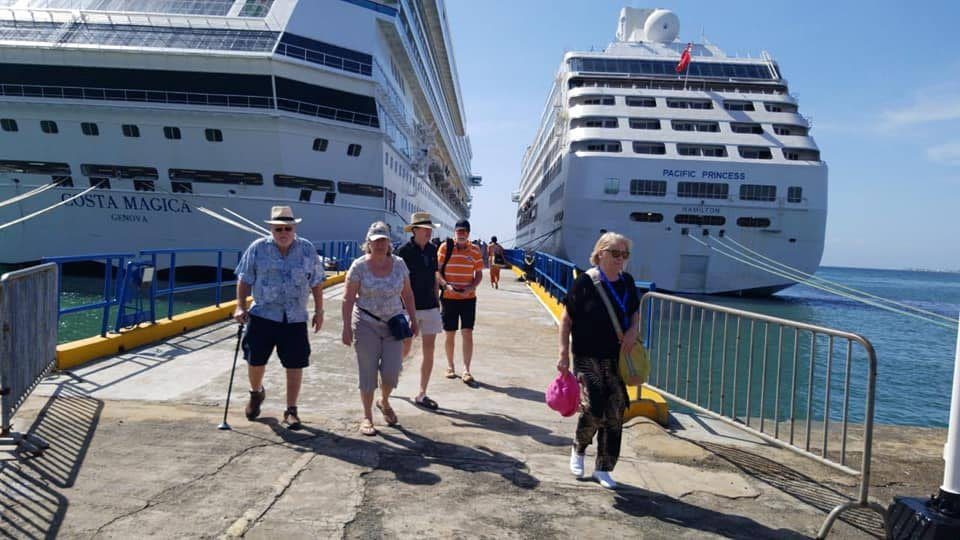 Tourists from the Costa Magica and Pacific Princess arrive in Tobago on Sunday at the Port of Scarborough.  - Division of Tourism