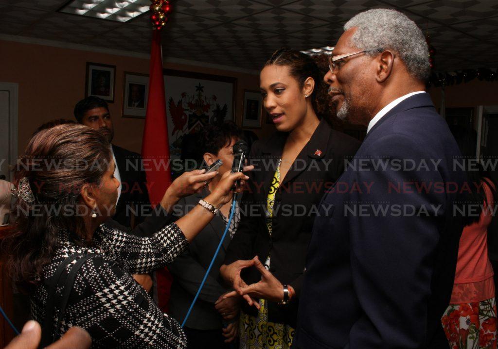 Senator Khadijah Ameen speaks to reporters. - Angel Marcelle