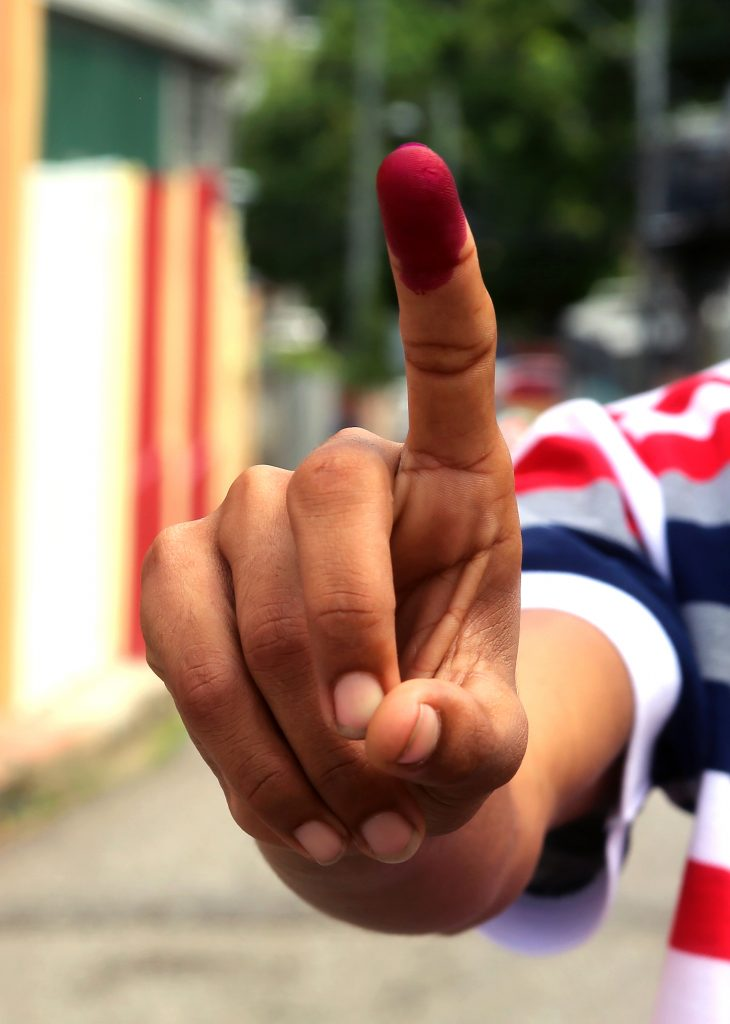 STAIN FINGER AFTER VOTING ... STOCK PHOTO    PHOTO SUREASH CHOLAI