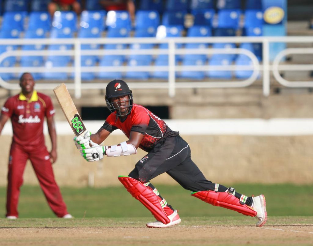 TT Red Force's Jason Mohammed plays a shot during the Regional Super 50 tournament match against the West Indies 'B' at the Queen's Park Oval, St Clair on Thursday. Photo by Nicholas Bhajan/CA-images - Nicholas Bhajan