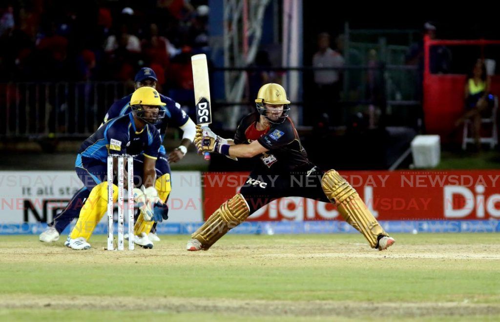 In this Oct 2,2019 file photo, TKR's Colin Munro bats during a Hero CPL T20 match against the Barbados Tridents, at the Queen's Park Oval. Trinbago Knight Riders face the Barbados Tridents tonight, at the Brian Lara Cricket Academy,Tarouba.  - Sureash Cholai
