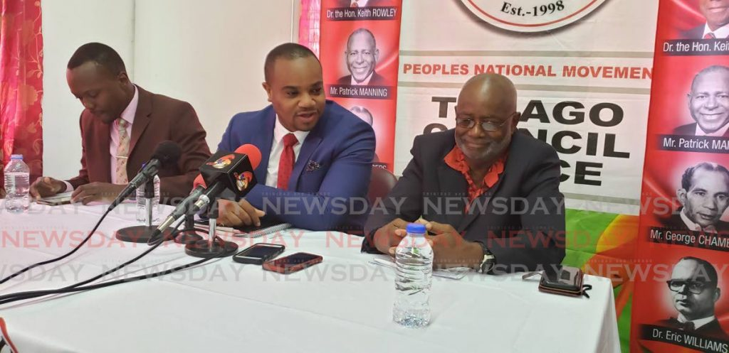 PNM Tobago Council chairman Stanford Callender, right, with PNM PRO Kwesi Des Vignes, centre, and Ancil Dennis at a press conference at the PNM headquarters in Scarborough recently. -