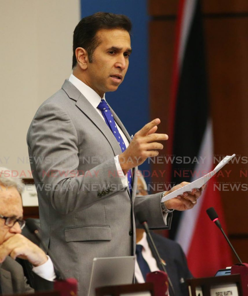 Attorney General Faris Al-Rawi in Parliament on November 15, 2019. Al-Rawi on Saturday said amendments to the Domestic Violence Act will be sent to Cabinet this week. - Angelo Marcelle