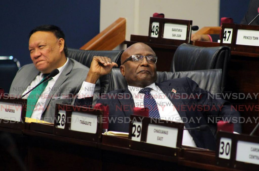 Opposition MPs, David Lee MP for Pointe a Pierre and Rodney Charles, MP for Naparima. - ROGER JACOB
